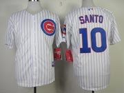 Mens mlb chicago cubs #10 santo white (blue stripe) Jersey