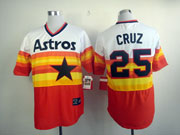 Mens Mlb Houston Astros #25 Cruz White&orange Throwbacks Pullover Jersey