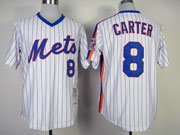 Mens mlb new york mets #8 carter white(blue strip) throwbacks Jersey