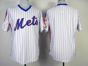 Mens mlb new york mets (blank) white(blue strip) 1986 throwbacks Jersey