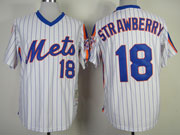 Mens mlb new york mets #18 strawberry white(blue strip) 1986 throwbacks Jersey
