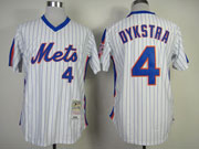 Mens mlb new york mets #4 dykstra white(blue strip) 1986 throwbacks Jersey