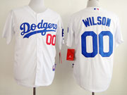 Mens mlb los angeles dodgers #00 wilson white Jersey