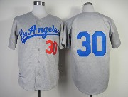 Mens Mlb Los Angeles Dodgers #30 Maury Wills Gray 1963 Throwbacks Jersey
