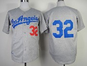Mens Mlb Los Angeles Dodgers #32 Sandy Koufax Gray 1963 Throwbacks Jersey
