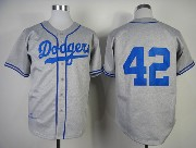Mens Mlb Los Angeles Dodgers #42 Jackie Robinson Gray 1955 Throwbacks Jersey