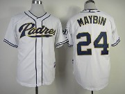 Mens mlb san diego padres #24 maybin white Jersey