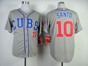 Mens Mlb Chicago Cubs #10 Santo Gray Throwbacks (2014 New) Jersey