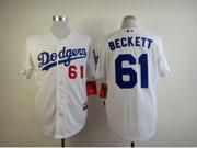 Mens mlb los angeles dodgers #61 beckett white Jersey