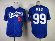 Mens mlb los angeles dodgers #99 ryu blue Jersey