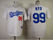 Mens mlb los angeles dodgers #99 ryu white Jersey