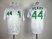 Mens Mlb Chicago White Sox #44 Peavy White Green Number Jersey