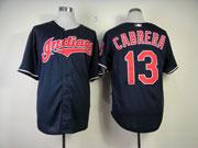 Mens Mlb Cleveland Indians #13 Cabrera Dark Blue Cool Base Jersey