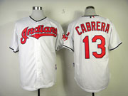 Mens Mlb Cleveland Indians #13 Cabrera White Cool Base Jersey