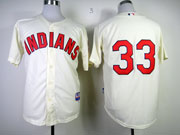 mens mlb cleveland indians #33 swisher cream Jersey (no name)