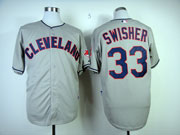 Mens Mlb Cleveland Indians #33 Swisher Gray Cool Base Jersey