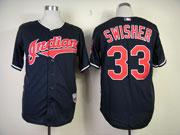 Mens Mlb Cleveland Indians #33 Swisher Dark Blue Cool Base Jersey