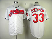 Mens Mlb Cleveland Indians #33 Swisher White Cool Base Jersey