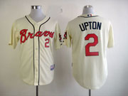 Mens mlb atlanta braves #2 upton cream Jersey
