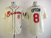 Mens mlb atlanta braves #8 upton cream Jersey