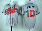 Mens Mlb Atlanta Braves #10 Jones Gray Cool Base Jersey