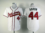 Mens mlb atlanta braves #44 aaron white throwbacks Jersey