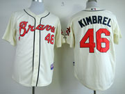 Mens mlb atlanta braves #46 kimbrel cream Jersey