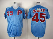 Mens mlb philadelphia phillies #45 mcgraw blue throwbacks Jersey