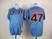 Mens mlb philadelphia phillies #47 andersen blue throwbacks Jersey