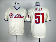 Mens mlb philadelphia phillies #51 ruiz cream Jersey