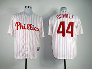 Mens mlb philadelphia phillies #44 oswalt white&red stripe Jersey