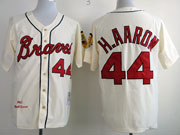 Mens Mlb Atlanta Braves #44 H.aaron Cream 1963 Throwbacks Jersey