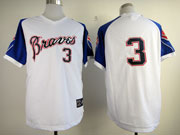 Mens Mlb Atlanta Braves #3 Murphy 1974 Throwbacks White&blue Sleeve Jersey(no Name)
