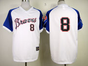 Mens Mlb Atlanta Braves #8 Upton Throwbacks1974 White&blue Sleeve Jersey(no Name)