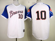 Mens Mlb Atlanta Braves #10 Jones Throwbacks1974 White&blue Sleeve Jersey(no Name)