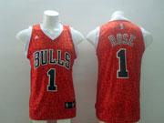 Mens Nba Chicago Bulls #1 Rose Red Leopard Grain Jersey