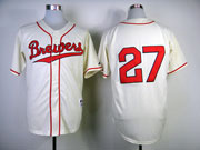 Mens Mlb Milwaukee Brewers #27 Gomez 1948 Cream Turn Back Jersey(no Name Red Number)