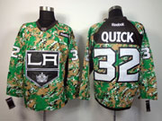 Mens reebok nhl los angeles kings #32 quick (2014 green camo) Jersey