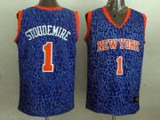 Mens Nba New York Knicks #1 Stoudemire Blue Leopard Grain Jersey