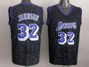 Mens Nba Los Angeles Lakers #32 Johnson Black Leopard Grain Jersey