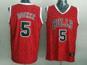 Mens Nba Chicago Bulls #5 Boozer Red Leopard Grain Jersey