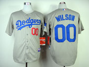Mens mlb los angeles dodgers #00 wilson gray (2014 new) Jersey