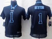 youth nfl Carolina Panthers #1 Cam Newton black (light out) elite jersey
