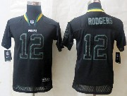 youth nfl Green Bay Packers #12 Aaron Rodgers black (lights out) elite jersey