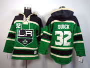 Mens nhl los angeles kings #32 quick green hoodie Jersey