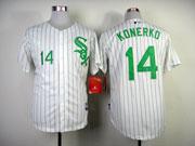 Mens mlb chicago white sox #14 konerko white (green number) Jersey