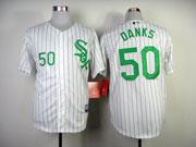 Mens mlb chicago white sox #50 danks white (green number) Jersey