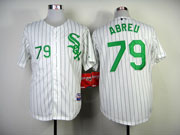 Mens mlb chicago white sox #79 abreu white (green number) Jersey