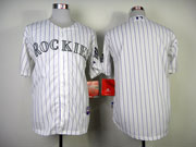 Mens mlb colorado rockies (blank) white (purple stripe) Jersey