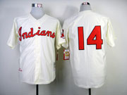 Mens mlb cleveland indians #14 doby cream 1951 throwbacks (no name) Jersey